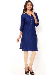 Regalia Ethnic  Plain  Cotton Navy Blue Kurti -Kre117