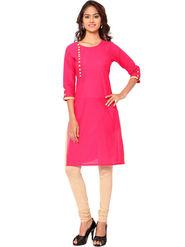 Regalia Ethnic  Plain  Cotton Pink Kurti -Kre121