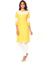 Regalia Ethnic  Plain  Cotton Yellow Kurti -Kre131
