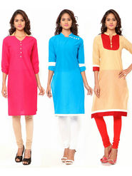 Combo of 3 Regalia Ethnic  Plain Cotton Semi Stitched Kurti  -Kre134