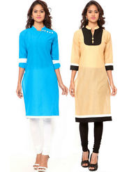 Combo of 2 Regalia Ethnic  Plain Cotton Semi Stitched Kurti  -Kre140