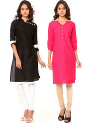 Combo of 2 Regalia Ethnic  Plain Cotton Semi Stitched Kurti  -Kre142