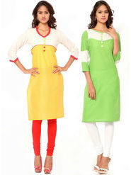 Combo of 2 Regalia Ethnic  Plain Cotton Semi Stitched Kurti  -Kre146