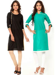 Combo of 2 Regalia Ethnic  Plain Cotton Semi Stitched Kurti  -Kre147