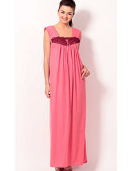 Klamotten Cotton Solid Nightwear - Pink - YY58