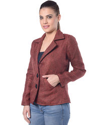 Lavennder Maroon Jute Full Sleeve Women Jacket - LJ-24057