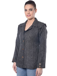 Lavennder Black Jute Full Sleeve  Women Jacket - LJ-24058