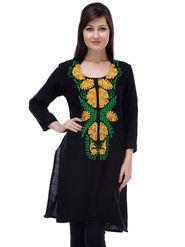 Lavennder Printed Poly Cotton Black Kurti _LW-28029