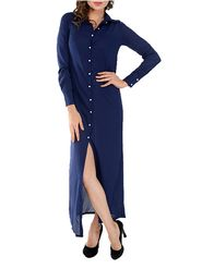 Lavennder Crepe Solid Navy blue Dress LW-5442