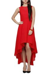 Lavennder Georgette Solid Red Dress LW-5446