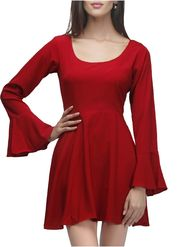 Lavennder Crepe Solid Red Dress LW-5448