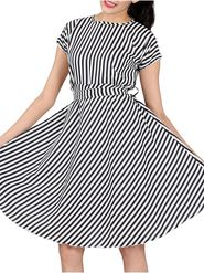 Lavennder Polyester Stripes Black Dress LW-5461