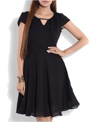 Lavennder Georgette Solid Black Dress LW-5486