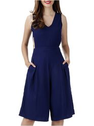 Lavennder Rayon Solid Navy blue Dress LW-5489