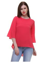 Lavennder Crepe Solid Red Top LW-5498