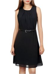Lavennder Georgette Solid Black Dress LW-5506
