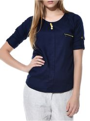 Lavennder Crepe Solid Navy blue Top LW-5512