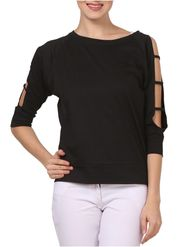 Lavennder Hosery Solid Black Top LW-5540