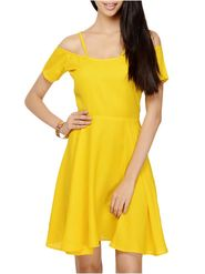 Lavennder Crepe Solid Yellow Dress LW-5541