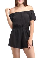 Lavennder Crepe Solid Black Dress LW-5545