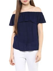 Lavennder Rayon Solid Navy blue Top LW-5554