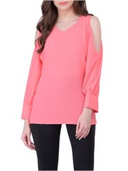 Lavennder Crepe Solid Pink Top LW-5564