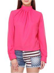 Lavennder Crepe Solid Pink Top LW-5571