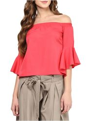 Lavennder Crepe Solid Red Top LW-5574