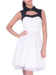 Lavennder Georgette Solid White Dress LW-5582