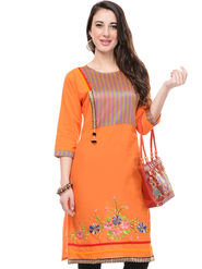 Lavennder Cotton and Dupion Silk Printed Kurti with Hand Bag - LK-62032