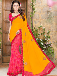 Indian Women Embroidered Lycra & Georgette Yellow & Red Designer Saree -Ma32040