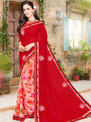 Indian Women Embroidered Georgette Red & Pink Designer Saree -Ma32041