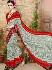 Indian Women Embroidered Georgette Multicolor Designer Saree -Ma32043