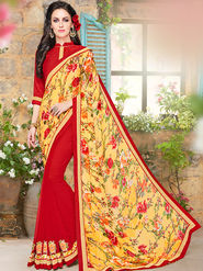 Indian Women Embroidered Jacquard & Georgette Yellow & Red Designer Saree -Ma32044