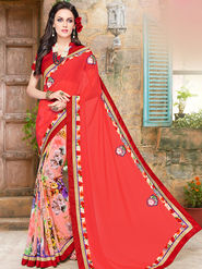 Indian Women Embroidered Georgette Pink Designer Saree -Ma32045