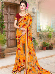 Indian Women Embroidered Georgette Multicolor Designer Saree -Ma32046