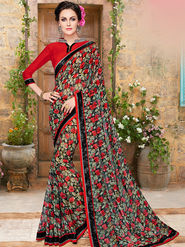 Indian Women Embroidered Georgette Multicolor Designer Saree -Ma32047