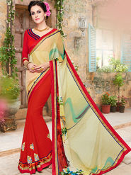 Indian Women Embroidered Georgette Multicolor Designer Saree -Ma32048