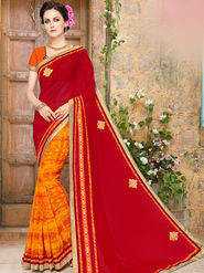 Indian Women Embroidered Lycra & Georgette Red & Orange Designer Saree -Ma32049