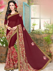 Indian Women Embroidered Net Jacquard & Georgette Maroon Designer Saree -Ma32050