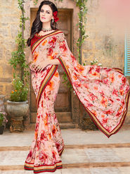 Indian Women Embroidered Georgette Peach Designer Saree -Ma32051