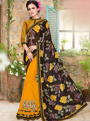 Indian Women Embroidered Lycra & Georgette Black & Yellow Designer Saree -Ma32052