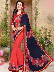 Indian Women Embroidered Georgette Black & Pink Designer Saree -Ma32055