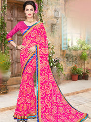 Indian Women Embroidered Georgette Pink Designer Saree -Ma32057