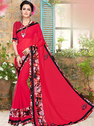 Indian Women Embroidered Georgette Red Designer Saree -Ma32058