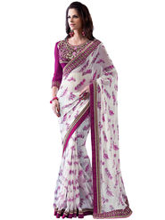 Nanda Silk Mills Designer Printed Georgette Sarees With Embroidered Blouse Piece  _MK-2005