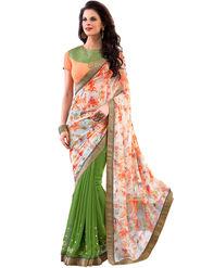 Nanda Silk Mills Designer Printed Georgette Sarees With Embroidered Blouse Piece  _MK-2006