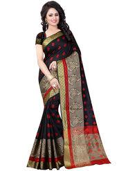 Styles Closet Banarasi Poly Cotton Black Saree -MS1211