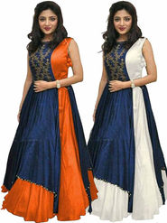 Pack of 2 Style Amaze Taffeta Semi-Sttiched Orange & White -Mayur-050,051