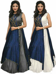 Pack of 2 Style Amaze Taffeta Semi-Sttiched Grey & White -Mayur-070,51
